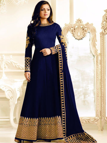 Designer Blue Color Georgette With Embroidery & Stone Work Anarkali Suit
