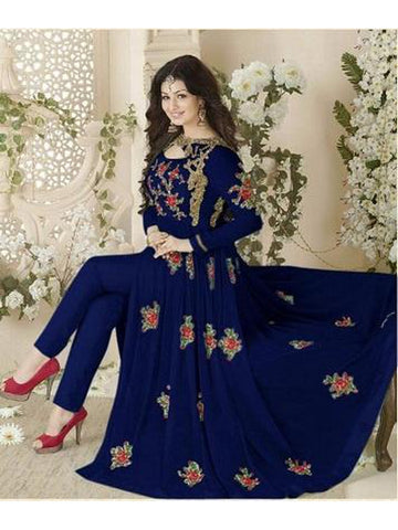 Designer and Beautiful Blue Color Georgette With Embroidery Work Anarkali Suit