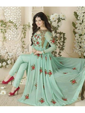 Designer and Beautiful Sky Blue Color Georgette With Embroidery Work Anarkali Suit