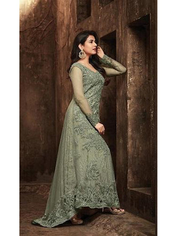 Designer and Beautiful Light Green Color Georgette With Embroidery Work Anarkali Suit