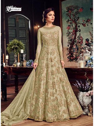 Designer & Beautiful Light Yellow Color Anarkali Suit