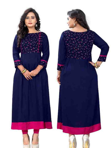 Designer Printed Blue Color Rayon Kurti