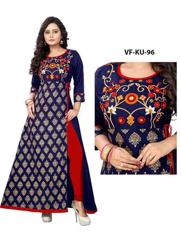 Designer Embroidered Blue Color Rayon Kurti