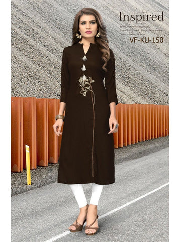 Designer Embroidered Dark Brown Color Rayon Kurti