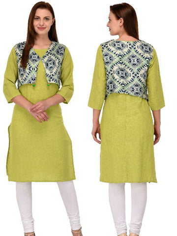 Designer Printed Light Green Color Slub Cotton Kurti