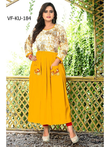 Designer Yellow Color Printed and Embroidered Rayon Straight Cut Kurti