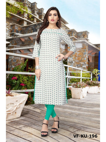 Designer Cream Color Cotton Printed Straight Cut Kurti