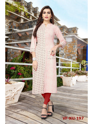 Designer Multi Color Cotton Printed Straight Cut Kurti