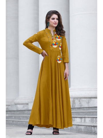 Designer Sand Yellow Color Namo Slab Cotton Embroidered A-Line Kurti