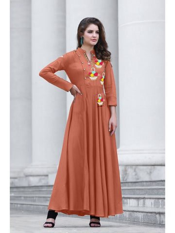 Designer Raw Orange Color Namo Slab Cotton Embroidered A-Line Kurti