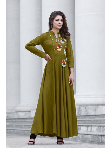Designer Mehendi Color Namo Slab Cotton Embroidered A-Line Kurti