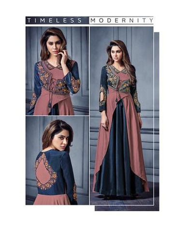 Designer Multi Color Embroidered Anarkali Long Kurti