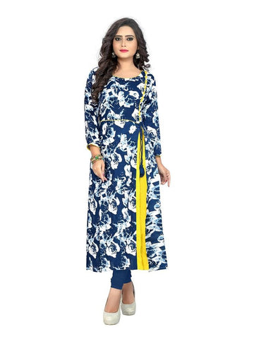 Designer Blue and Yellow Color Plain Cotton Straight Cut Kurti