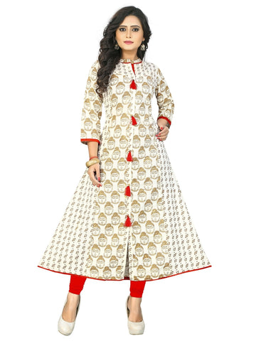 Designer Cream Color Cotton Anarkali Kurti