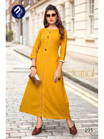 Designer Yellow Color Heavy Khadi Cotton Straight Cut Kurti