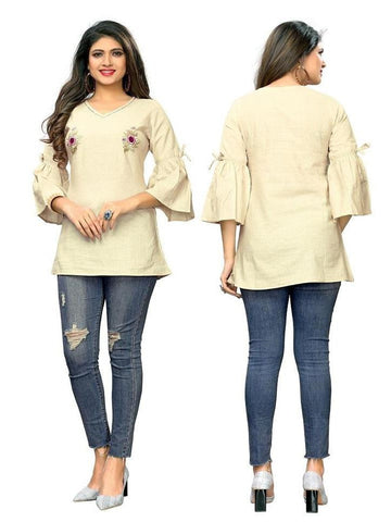 Designer Beige Color Embroidered Flax Cotton Short Kurti