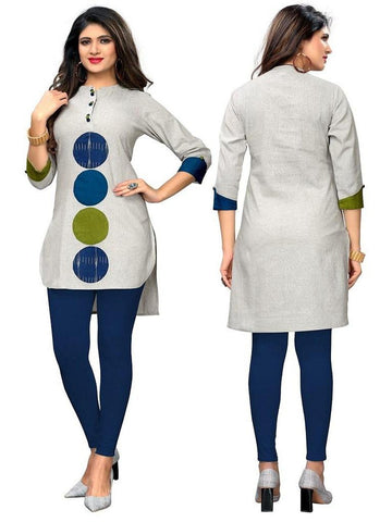 Designer Grey Color Patch Work Flax Cotton Kurti