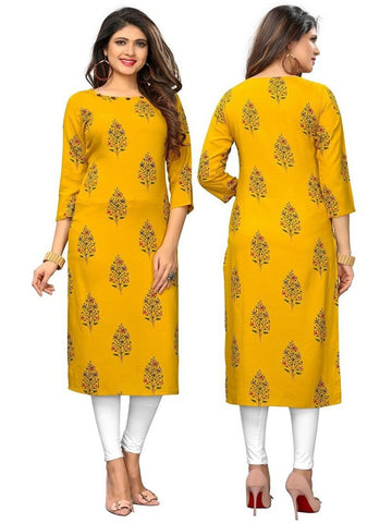 Designer Yellow Color Printed Rayon Kurti