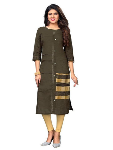 Designer Brown Color Solid Slub Cotton Kurti