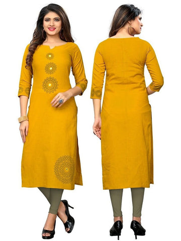 Designer Yellow Color Printed Slub Cotton Kurti