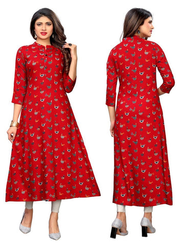 Designer Red Color Rayon Printed Straight Cut Kurti