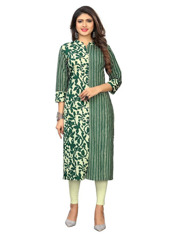 Designer Green Color Cotton Printed Straight Cut Kurti