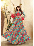 Designer Multi Color Embroider & Print Work Anarkali Kurti Gown