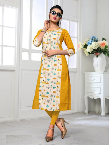 Designer and Beautiful Yellow Color Kurti