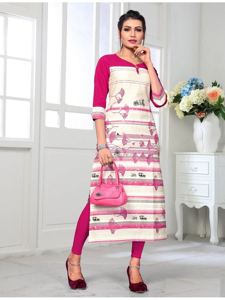Designer and Beautiful Pink & White Color Kurti