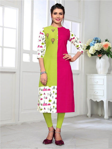 Designer and Beautiful Pink & Parrot Color Kurti