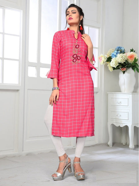 Designer and Beautiful Baby Pink Color Kurti