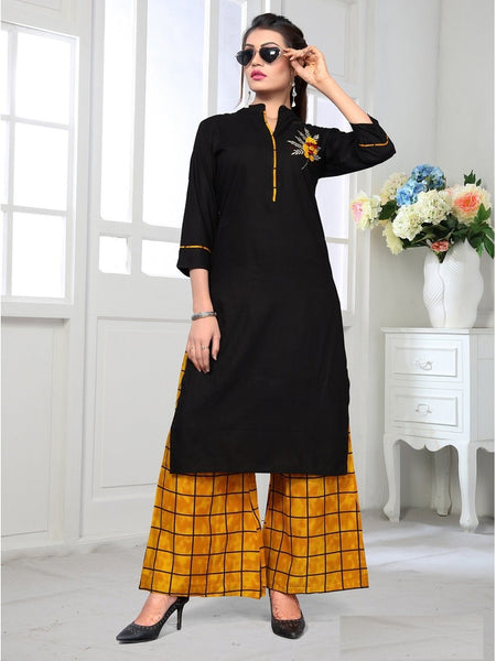 Designer and Beautiful Black & Mustard Yellow  Color Kurti