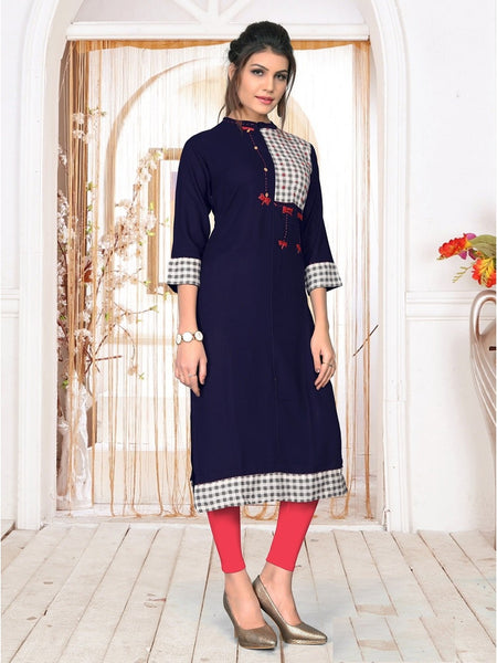 Designer and Beautiful Navy Blue Color Kurti