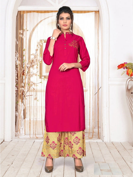 Designer and Beautiful Pink & Cream Color Kurti