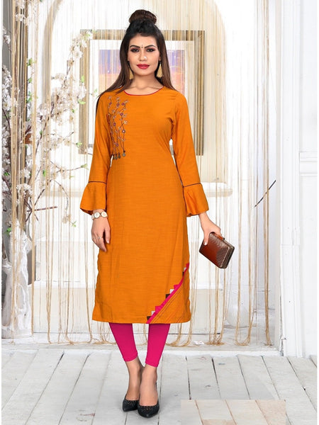 Designer and Beautiful Dark Orange Color Kurti