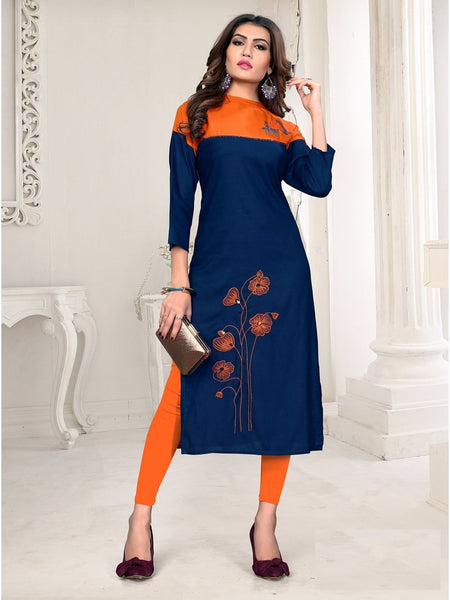 Designer and Beautiful Blue & Orange Color Kurti