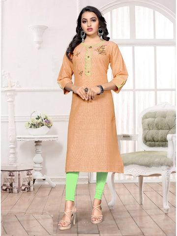 Designer and Beautiful Light Orange Color Kurti