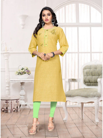 Designer and Beautiful Light Yellow Color Kurti