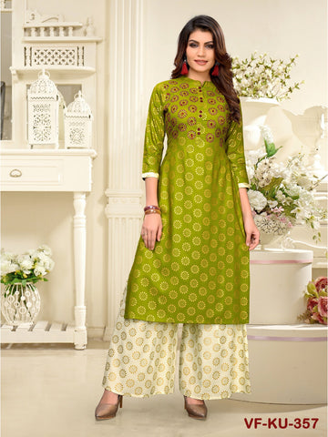 Designer and Beautiful Parrot Color Straight Cut Kurti with Palazzo