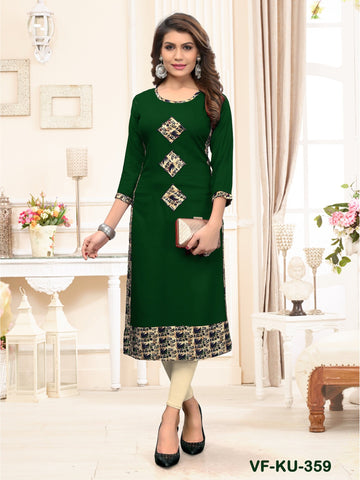 Designer and Beautiful green Color Straight Cut Kurti