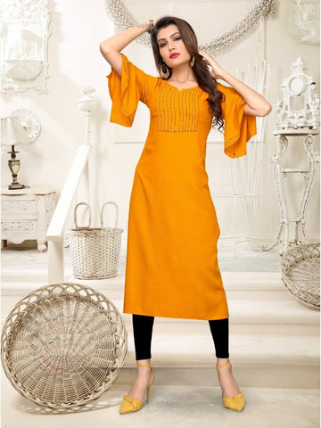 Designer and Beautiful Yellow Color Straight Cut Kurti