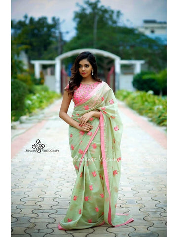 Designer & Beautiful Embroidery work light green Color Saree