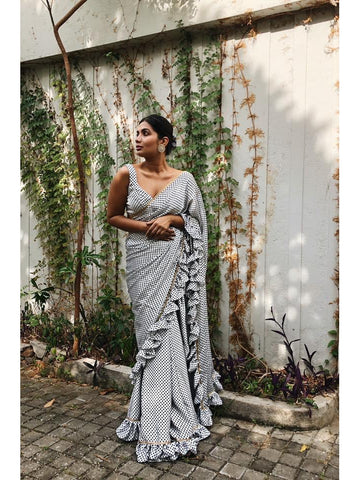 Designer & Beautiful Embroidery work Grey Color Saree