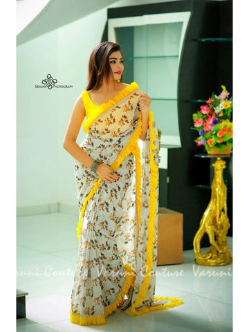 Designer and Beautiful Cream and Yellow Color Banglori Silk Saree