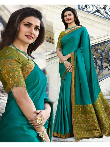 Designer and Beautiful Sky Blue Banglori Silk Saree