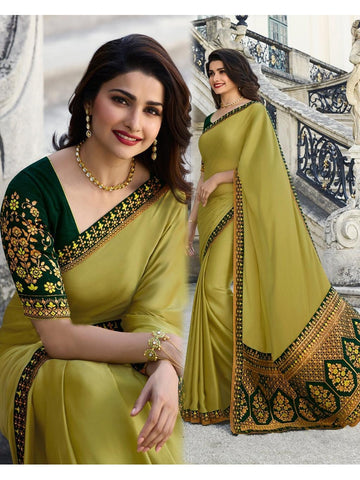 Designer and Beautiful Yellow Banglori Silk Saree