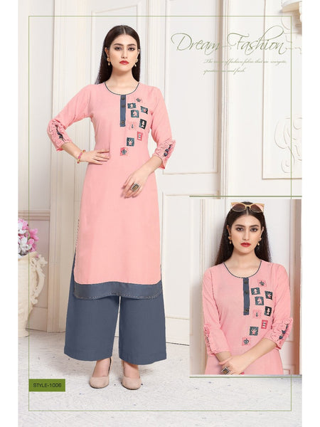 Designer and Beautiful Straight Cut Kurti with Bottom