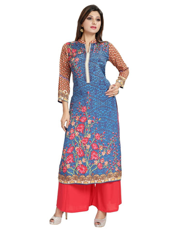 Designer Indigo Blue Printed Long Straight Kurta