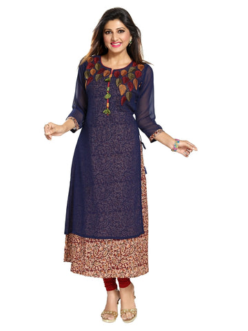Navy Blue Fine Georgette Double Layered Kurti