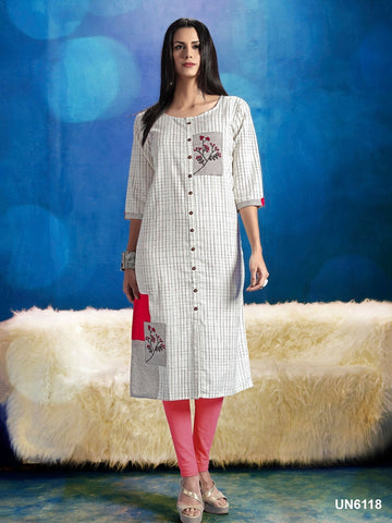 Beautiful Designer Thread Work White and Pink Color Cotton Kurti